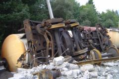Zerstörter Eisenbahnwaggon